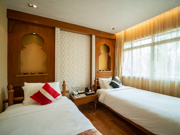 Luxury room with bed in warm light