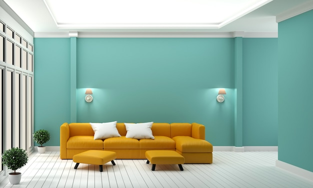 Luxury room - yellow sofa on mint wall modern interior