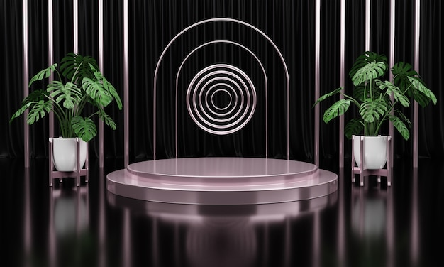 Luxury silver marble circle, block, square podium green leaves in black curtain background
