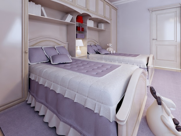 Luxury single bed in bedroom with wall system