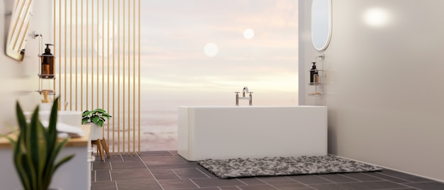 背景の3dレンダリングで空の景色を望むバスタブ付きの豪華で広々としたバスルームのインテリア