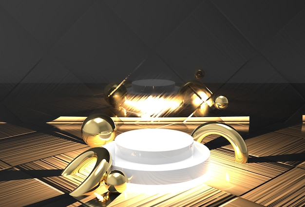 Luxury stage mockup in black and gold