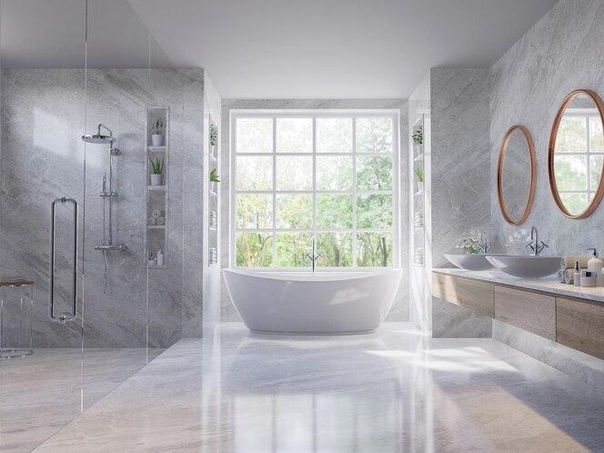豪华风格浅灰色浴室