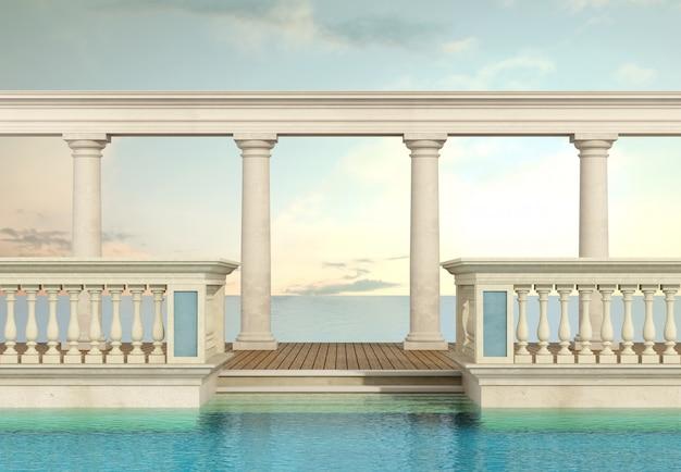 手すりと列柱のある豪華なスイミングプール