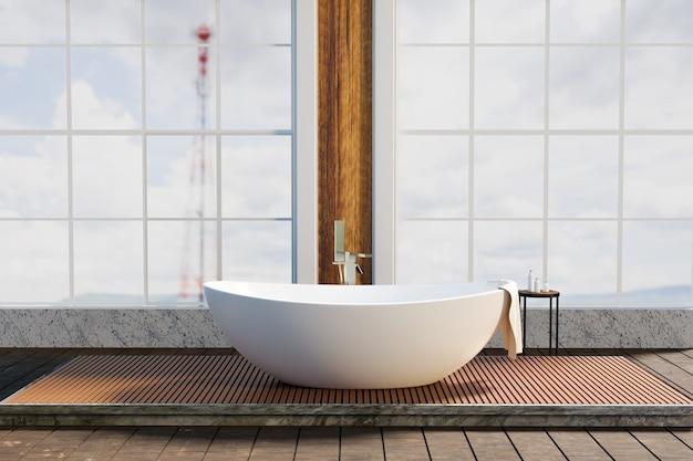 Роскошный дизайн туалета с широким углом обзора, 3d визуализация