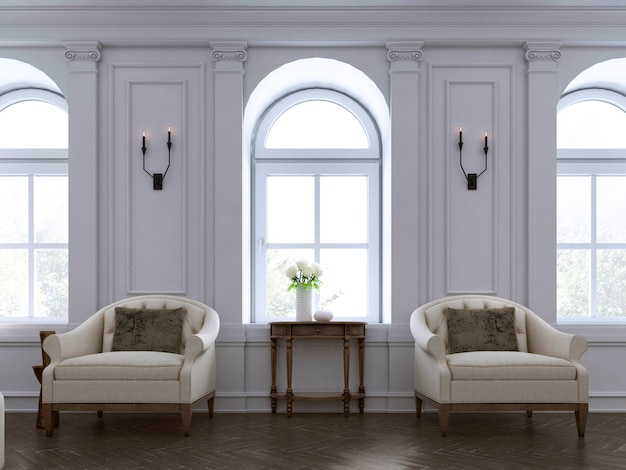 Luxury two armchair in classic living room with tableset. 3d rendering
