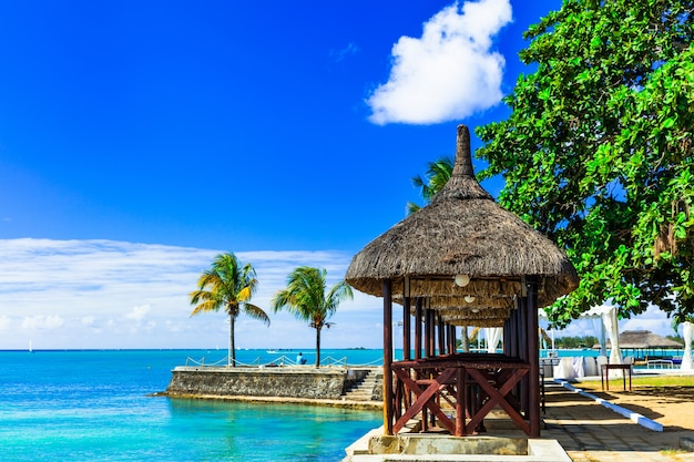 Luxury vacation in tropical resort. mauritius island. beachside restaurant