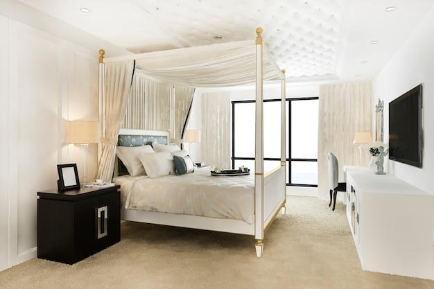 Luxury vintage bedroom suite in hotel and resort