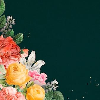 Роскошные старинные цветы границы акварель на зеленом фоне