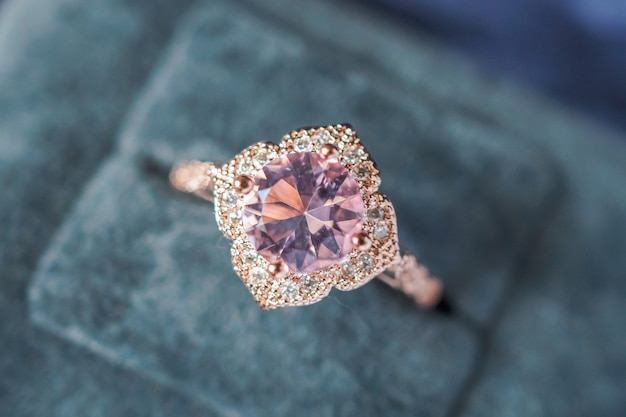 Luxury vintage pink diamond ring in jewelry gift box