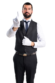 Luxury waiter counting one