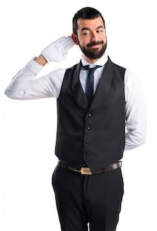 Luxury waiter listening something