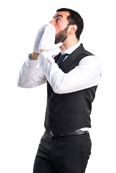 Luxury waiter shouting