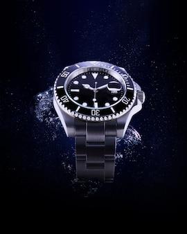 Luxury watch with splash water.