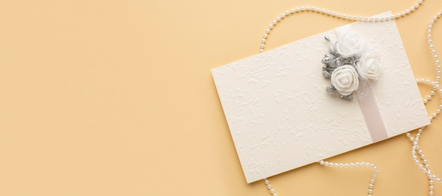 Luxury wedding concept envelope with flowers