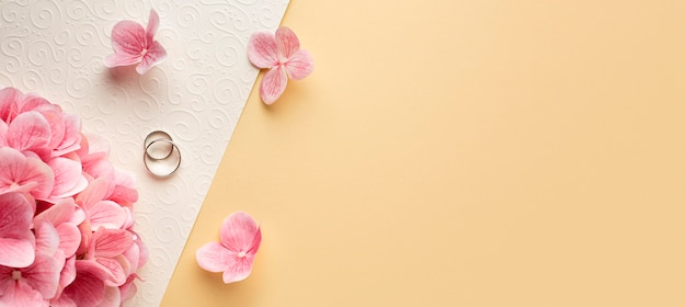 Luxury wedding concept petals copy space