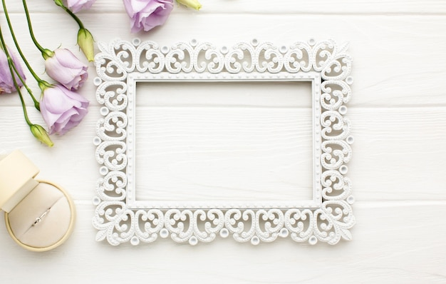 Luxury wedding frame and flowers