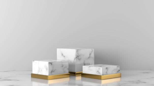 豪華な白と金の大理石のショーケース表彰台で白い背景