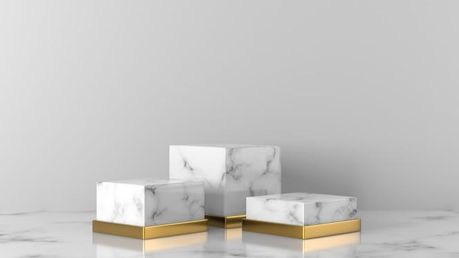 흰색 배경에 고급스러운 흰색과 금색 대리석 쇼케이스 연단