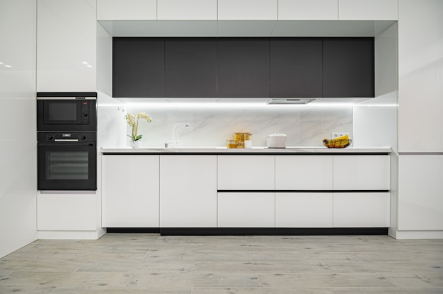 Luxury white and black modern marble kitchen front view