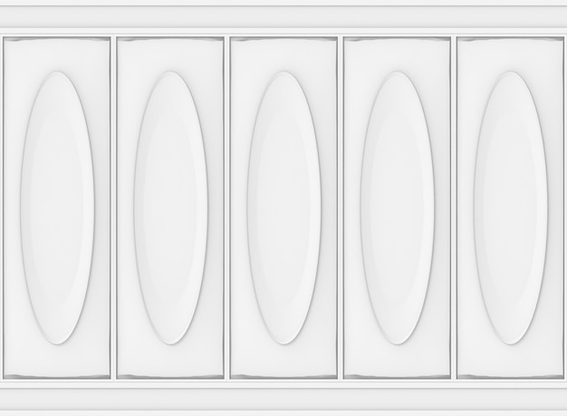 Luxury white classical oval pattern wood wall background.