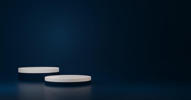 Роскошный белый цилиндрический стенд в синей комнате, студия сцена для продукта, минималистичный дизайн, 3d-рендеринг