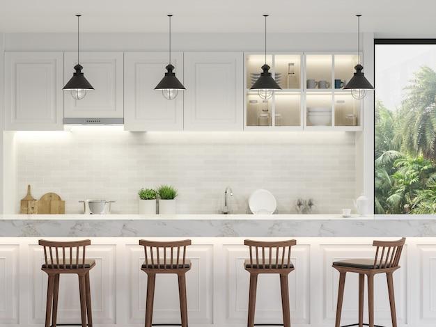 豪華な白いキッチンカウンター3dレンダリング装飾された白い大理石のキッチンカウンター