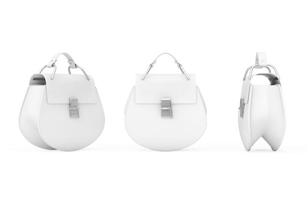 白い背景の上の豪華な白い革の女性のバッグ。 3dレンダリング