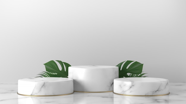 Luxury white marble cylinder podium green leaves in white background.