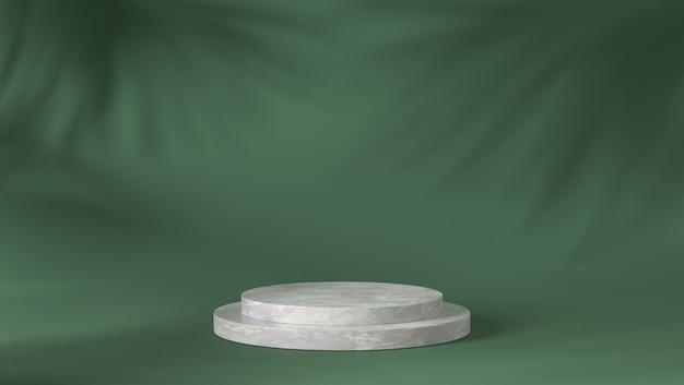 Роскошный белый мраморный цилиндр подиум в тени листьев фоне