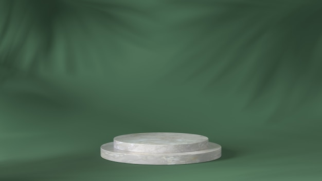 Luxury white marble cylinder podium in shadow leaves background