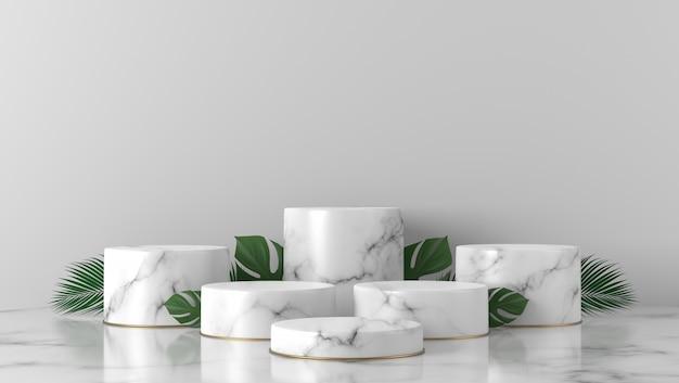 럭셔리 화이트 대리석 실린더 쇼케이스 연단 및 팜 및 몬스 테라 흰색 배경에 나뭇잎