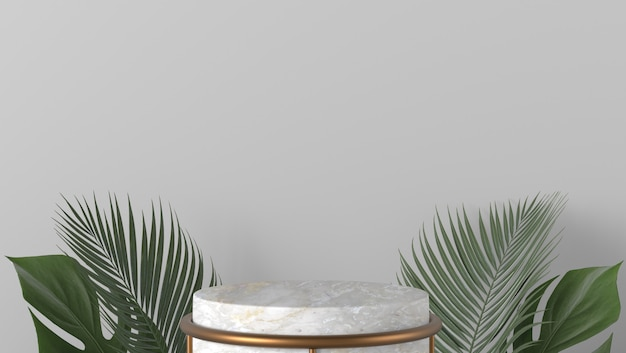 Luxury white marble cylinder showcase podium and palm leaves in white background