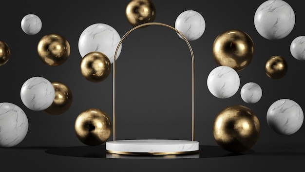 Luxury white marble and gold platform surrounded by bubbles 3d rendering mock up