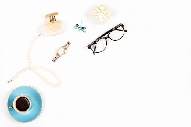 Luxury woman accessories on white background, copy space