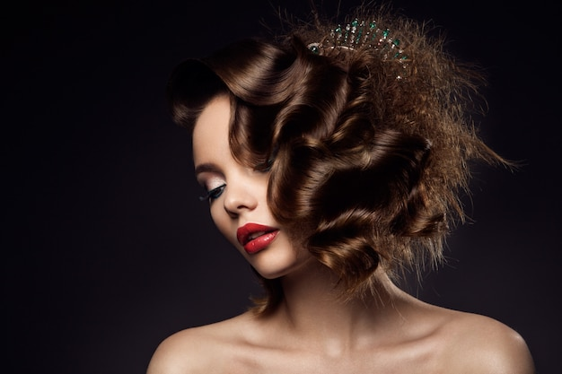 Luxury woman portrait with perfect hair