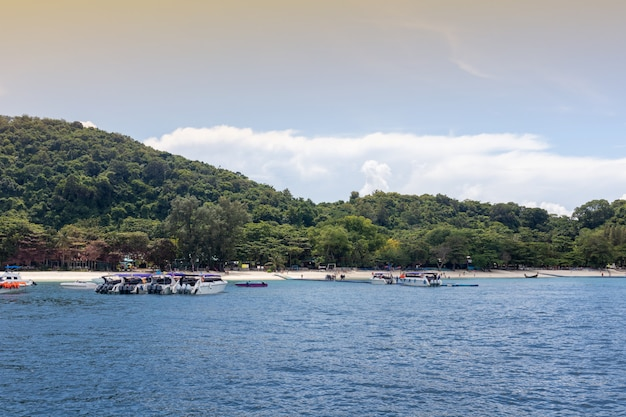Luxury yacht cruise on the sea at phuket, thailand