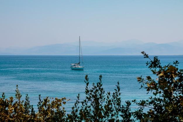 Luxury yacht near coastline