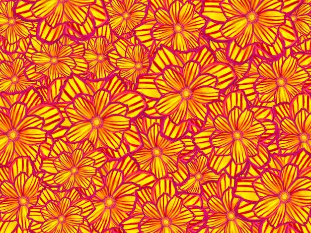 Роскошный желтый, золотой цветочный узор цифровой краской искусство фоновой иллюстрации