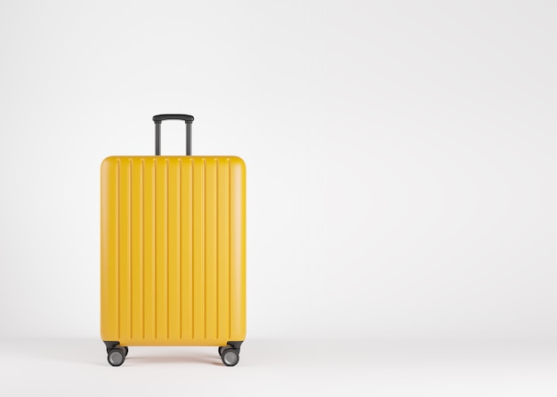コピースペースと白い背景の上の豪華な黄色のプラスチック製スーツケース。旅行休暇休暇の概念。 3dレンダリングイラスト