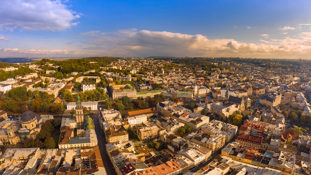 Lviv, aerial view. ukrainian city with beautiful architecture.