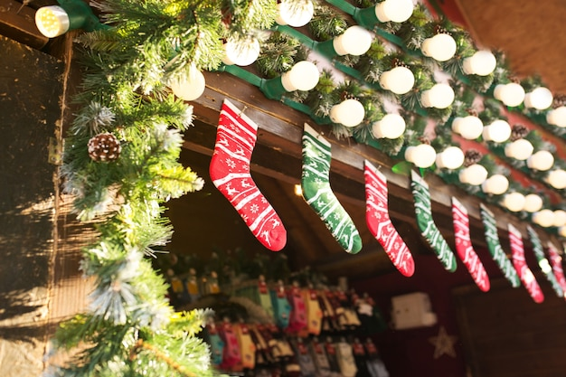 Lviv, ukraine - january 1, 2017: multi-colored socks at the christmas fair in the center square square on january 1, 2017 in lvov, ukraine
