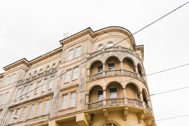 Lviv, ukraine. march 2020. the art nouveau architecture of the old city