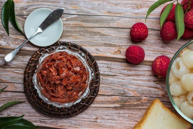 Lychee fruit jam вкусный десерт для завтрака, тайская еда.