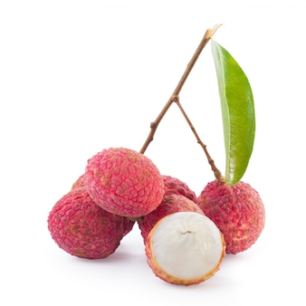 Lychee and green leaf isolated.