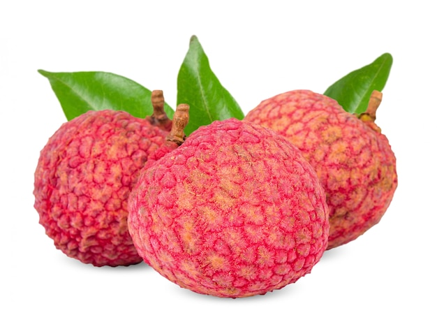 Lychee isolated on white clipping path