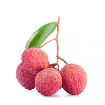 Lychee isolated on white. with clipping path