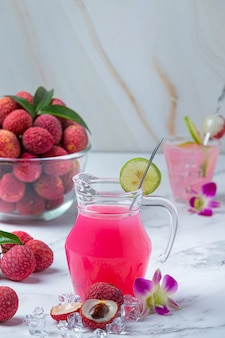 Lychee jelly, seasonal fruit and beautifully decorated thai dessert concept.