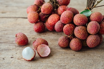 Lychee on wooden table