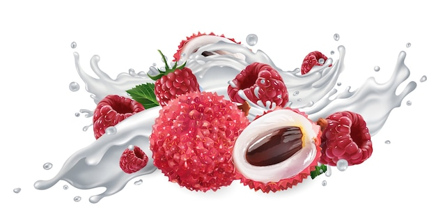 Lychee and raspberries in a yogurt splash.